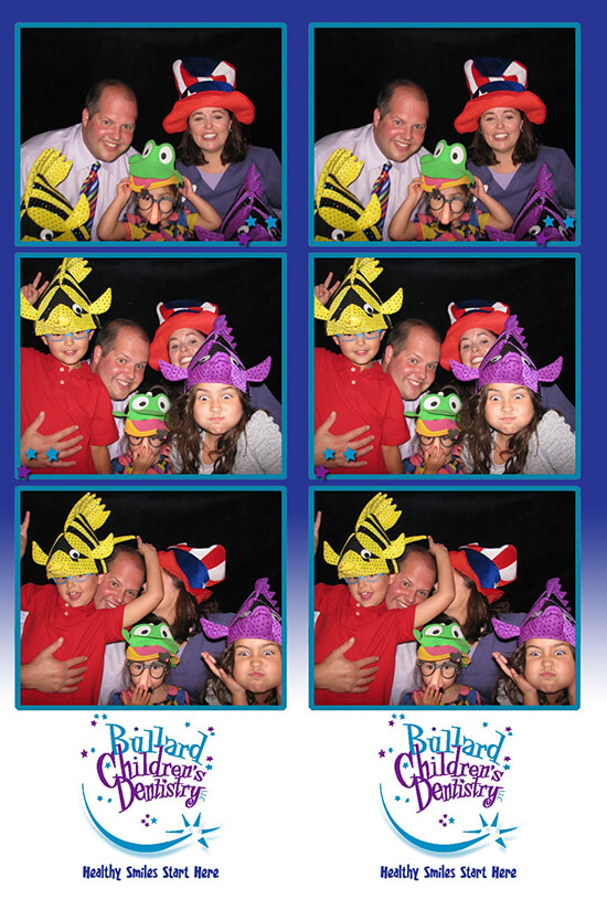 Photo booth pictures of Dr. George and his family wearing hats