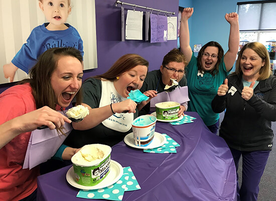 Staff ice cream eating contest