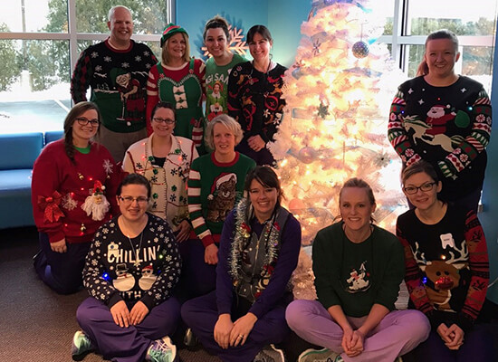 Staff ugly sweater photo